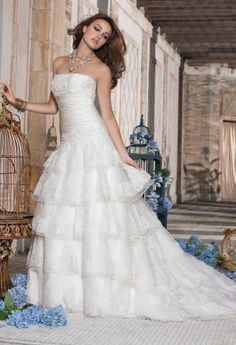 Wedding Dresses - Beaded Lace and Organza Tiered Wedding Dress from Camille La Vie and Group USA