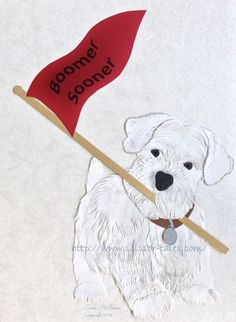 Instant Download of Original Paper Cutting Art - Oklahoma Sooners Pennant with Boomer the Dog - University of Oklahoma - by Scissor Tale, $5.00