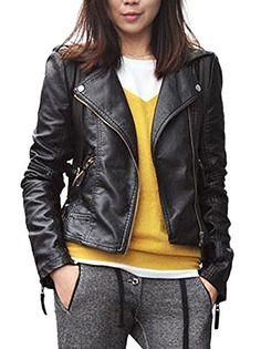 Vijiv Women's Faux Leather Zipper Jac…