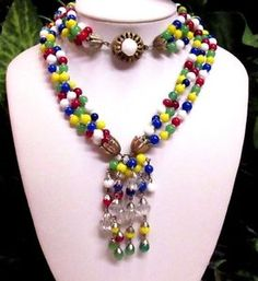 Vintage-Colorful-Early-MIRIAM-HASKELL-Multi-Strand-Glass-Beaded-Tassel-Necklace