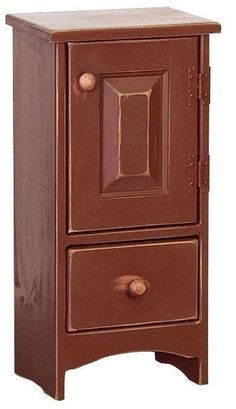 Amish Pine Catch Stand Cabinet A handy little cabinet to store keys in the hallway or display some houseplants. This solid pine cabinet is cute and solid. #pinefurniture