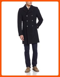 Kenneth Cole New York Men's Egan 39 Inch Double Breasted 8-Button Coat, Black, 44/Long - Mens world (*Amazon Partner-Link)