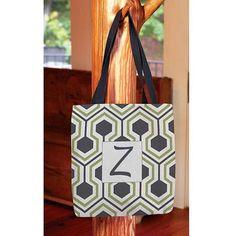 Thumbprintz - Honeycomb Monogram Tote Bag, Women's, Size: 13 inch x 13 inch, Gray