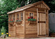 Outdoor Living Today 8' x 8' Sunshed Garden Shed Wood Storage Sheds, Wood Shed, Cedar Shed, Firewood Storage, Diy Shed Plans, Storage Shed Plans, Garage Plans, Backyard Greenhouse, Backyard Landscaping