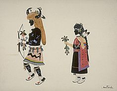 Buffalo Dancers  ca. 1920-1930 Awa Tsireh Born: San Ildefonso Pueblo, New Mexico Died: San Ildefonso Pueblo, New Mexico watercolor and pencil on paperboard sheet: 8 x 10 1/8 in. (20.4 x 25.6 cm) Smithsonian American Art Museum