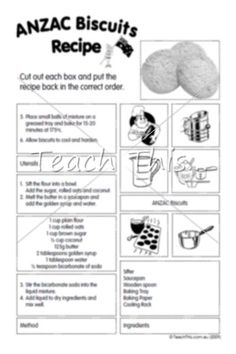 This jumbled recipe for ANZAC Biscuits is perfect for consolidating knowledge of procedural texts. Once you have unjumbled the recipe, you might even choose to prepare the recipe for a delicious ANZAC treat. Recipe For Anzac Biscuits, Biscuit Recipe, Classroom Games, Classroom Displays, Procedural Writing, Anzac Day, Remembrance Day, Teacher Resources