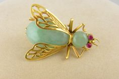 Vintage Estate Gold & Green Jade Fly