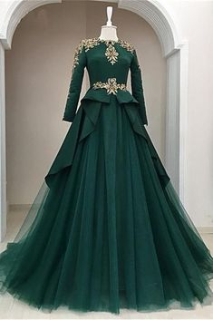 Dark Green Satin Tulle O Neck Long Sleeve Arabic Formal Prom Dress With Applique is part of Formal dresses prom - heels' height If long sleeves dress, please also left upper arm size, wrist size, length for arm to wrist Elegant Prom Dresses, Prom Dresses With Sleeves, Day Dresses, Pretty Dresses, Beautiful Dresses, Evening Dresses, Formal Dresses, Formal Prom, Long Dresses