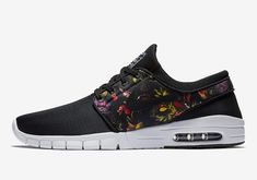 hot sale online 3bb55 5ce10 The Nike SB Stefan Janoski Max Floral (Style Code features a Black upper  highlighted with a Multi-Color Floral print on the sides and White