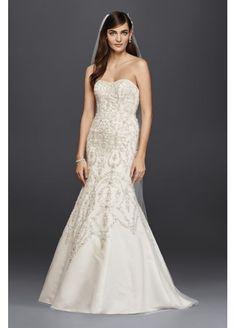 Oleg Cassini Tulle Scoop Back Beaded Wedding Dress 4XLCWG706