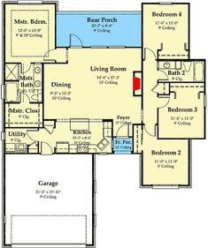 Compact French Country House Plan - floor plan - Main Level PERFECT layout, slight mods needed. Pole Barn House Plans, Cottage Floor Plans, Ranch House Plans, Craftsman House Plans, Best House Plans, Modern House Plans, Small House Plans, House Floor Plans, French Country House Plans