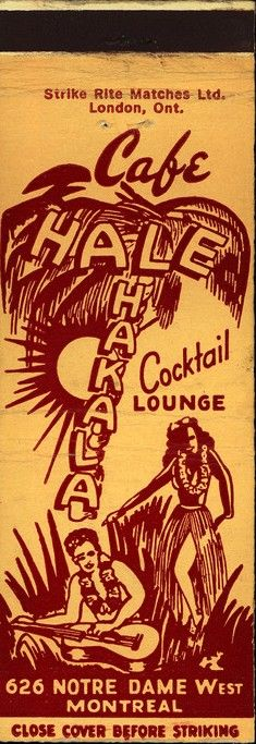 Cafe Hale Hakala - Montreal, Quebec - 1940s Match Cover