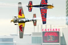 The Red Bull Air Race, established in 2003 and created by Red Bull, is an international series of air races in which competitors have to navigate a challenging obstacle course in the fastest time.