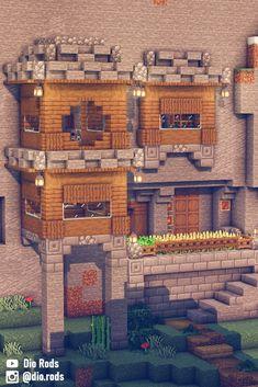 Casa Medieval Minecraft, Minecraft Farm, Minecraft Cottage, Cute Minecraft Houses, Minecraft Plans, Minecraft Survival, Minecraft Construction, Amazing Minecraft, Minecraft Blueprints