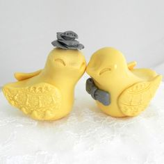 Wedding Cake Topper Love Birds Buttercup Yellow and by LavaGifts, $62.00