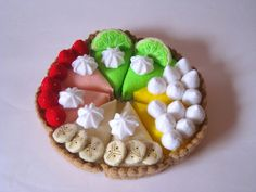 Felt food strawberry cream pie set eco friendly by CreationByM