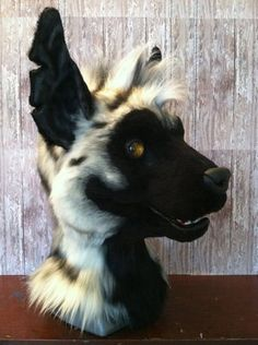 Striped hyena fur-suit head