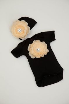 Baby Girl Black Onesie Set with Detachable Peach by jacqueline225, $22.00