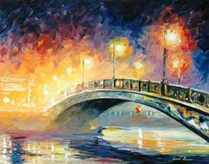"Bridge — PALETTE KNIFE Oil Painting On Canvas By Leonid Afremov - Size: 24""x36""+"