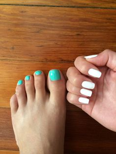 Summer mani pedi combo! White fingernails and turquoise toes!