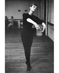 Audrey in preparation for Funny Face in which she would dance with her idol, Fred Astaire, 1956