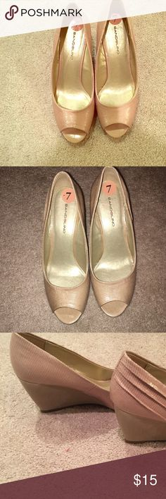 NWT Bandolino nude wedges. Size 7 Never worn. Tags in place.  Reposting. Bought the wrong size.  Need a 6.5.  So disappointed because i LOVE these shoes.  Perfect for work to date night and perfect color to match EVERYTHING yet still being stylish. Omg and soooo comfortable. Bandolino Shoes Wedges