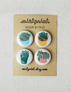 Succulent Button Set by mistprint