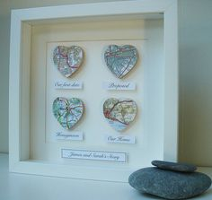 Personalised Multi Heart Map Picture – Mo Oh Personalised Multi Heart Map Picture Personalised Map Hearts Story Picture… cute gift idea Map Crafts, Frame Crafts, Diy And Crafts, Box Frame Art, Box Frames, Frames Ideas, Homemade Gifts, Diy Gifts, Homemade Wedding Gifts
