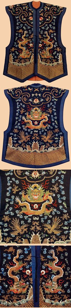 Antique Chinese Vest. Court Vest, China. Silk twill ground, silk and gilt Gold metal thread Embroidery, Pattern of dragons chasing flaming pearls front and back, similar dragons on shoulders, amidst clouds and flying cranes, above waves and mountains, striped lower section.    Ching Dynasty. 1644 – 1911 A.D.