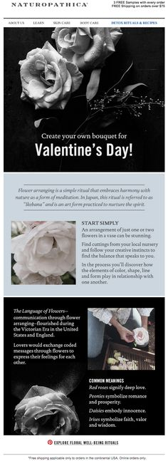 Naturopathica valentine's day educational email. Subject line: Stop and Smell the Roses.