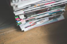 Stack of various magazines