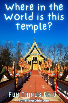 This temple exists in an unexpected place. It's one of the unusual and unique attractions in the state. Watt Lao Buddhamamakaram is a Buddist temple, Columbus Ohio. #columbusohio #uniqueohio Columbus Travel, Columbus Ohio, Side Road, Surprises For Husband, Us Sailing, Winter Sun, Buddhist Temple, Place Of Worship, Long Distance