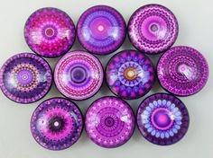 Set of 10 purple mandala print wood knobs are wide and have been painted black with a decoupage mandala pattern. Sealed with a triple coat gloss finish so these knobs are durable enough for every Knobs And Knockers, Knobs And Handles, Door Handles, Mandala Print, Mandala Pattern, Cabinet Knobs, Door Knobs, Drawer Knobs, Drawer Pulls