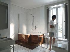 Duravit - Bathroom design series: Seadream - bath tubs and bath room furniture from Duravit. Tub Shower Combo, Bathtub Shower, Bath Tubs, Upstairs Bathrooms, Basement Bathroom, Bath Window, Duravit, Bathroom Renovations, Kitchen And Bath