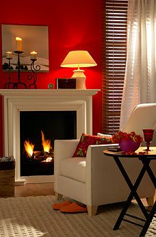 Red Wall Cozy Fire And Wood Shutters Flanking The Window Lt 3 Feature