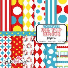 INSTANT DOWNLOAD under the bigtop circus & carnival digital paper set. $5.00, via Etsy.