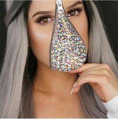 Diamond zipper face halloween makeup by @kcrab__