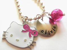 Hello Kitty Personalized Necklace Hand Stamped Charm by LillyEllen, $19.00 - for my Lexi!
