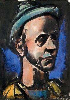 """Georges Rouault - """"PRES DES FORTIFICATIONS DESERTIQUES, JE NAQUIS..."""" (AUTOPORTRAIT), 1929"""