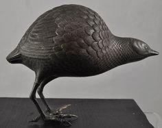 Antique Japanese Bronze Partridge Bird Statue Meiji Era Late 19th Century.  We love 18th century decorative antiques at Renaissance Fine Jewelry and Renaissance Fine Antiques of New England. www.vermontjewel.com. Visit us in Vermont, eBay or Ruby Lane.