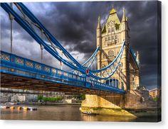 Victorian Gothic Canvas Print featuring Tower Bridge - London Landmark by Mark E Tisdale