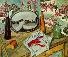 'Still Life with Crayfish' by Mikhail Fiodorovich Larionov (1881-1964, Russia)