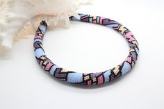 Bright Colors Beaded Choker Beaded Rope Necklace by Inulitka