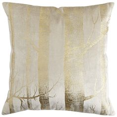 Gold Foil Birch Trees Pillow