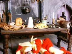 The Great Hall. Ready for a feast! Norman Castle, Miniature Food, Dollhouse Miniatures, Cheese, Doll House Miniatures