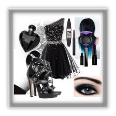 """""""Little One Shoulder Black Dress"""" by stellastellahankinson ❤ liked on Polyvore featuring Alexander McQueen, MAC Cosmetics, Smashbox, Givenchy, Maybelline, Lipsy and dress"""