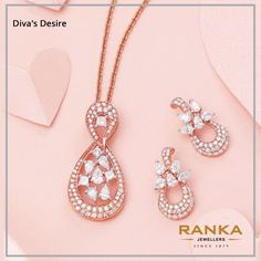 Buy Diamond Jewelry at good quality and price. Shop diamond jewlery necklace, diamond earrings, diamond bracelets, and much more from our exquisite collection of ranka jewellers Rose Gold Pendant, Rose Gold Jewelry, Pendant Set, Diamond Pendant, Diamond Jewellery, Diamond Bracelets, Diamond Studs, Diamond Earrings, Gold Bangles Design