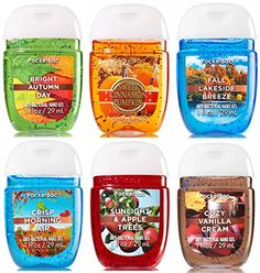 PocketBac hand sanitizer 6pc Bundle Take a walk through a beautiful fall forest with these 6 warm & cozy fragrances! Includes Sweet Cinnamon Pumpkin, Bright Autumn Day, Fall Lakeside Breeze, Sunlight and Apple Trees, Crisp Morning Air & Cozy Vanilla Cream Bath & Body Works PocketBac Hand Sanitizer Gel Autumn Adventure 6pc Bundle