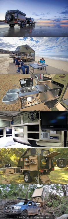 The Penthouse of lil trailers ! Conqueror Trailer This is no Mini Winnie the is a camper built like a war wagon: think river crossings and jungle bushwacking. Its clever and luxurious featuring to AC kitchen a DVD player Camping Hacks, Off Road Camping, Camping Glamping, Camping Survival, Camping Gear, Camping Style, Camping Cooking, Camping Outfits, Camping Theme