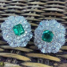 repost from @therichgems Customized Emerald Earrings   #emerald #emeraldearrings #diamond #diamonds #diamondearrings #jewellery #handmade #madeinmyanmar #richgems #Yangon#instarepost20